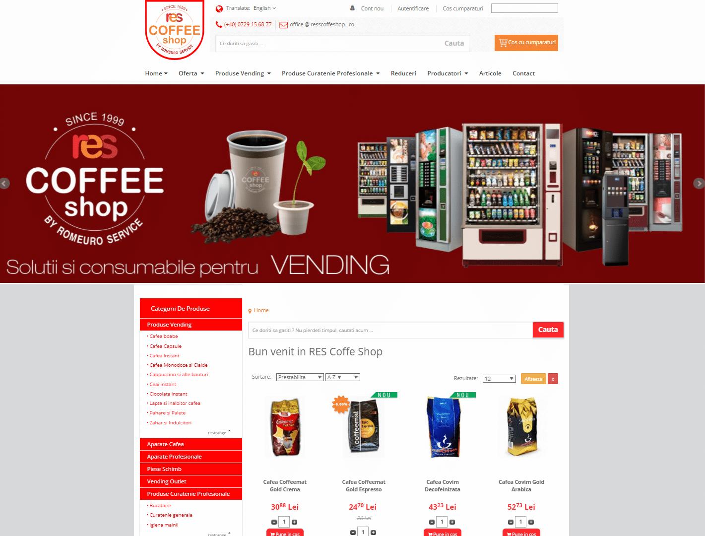 Res Coffee Shop – o platforma de comert online cu produse de Vending si Horeca